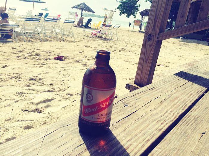 Beach Redstrip Beer Bottle Sand Jamaica