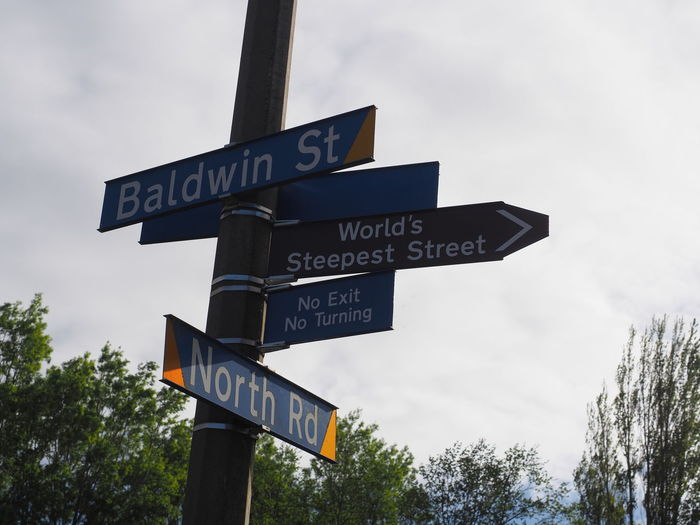 Low Angle View Of Street Name Sign Against Sky