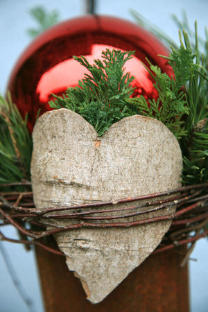 Christmas decoration with wooden heart Bark Christmas Green Love Red Thuja Wicker Wickerwork Bauble Branch Christmas Decoration Close-up Day Heart Heart Shape Nature No People Outdoors Symbol Wooden