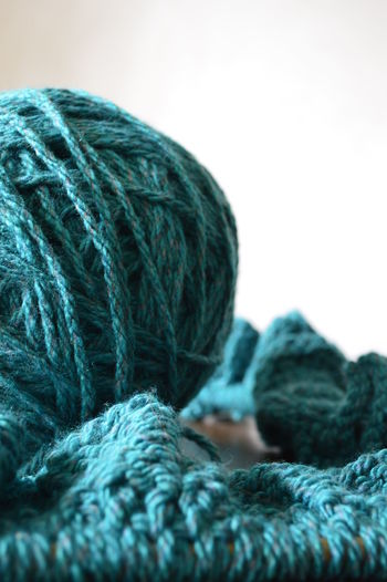 Close-up of wool over white background