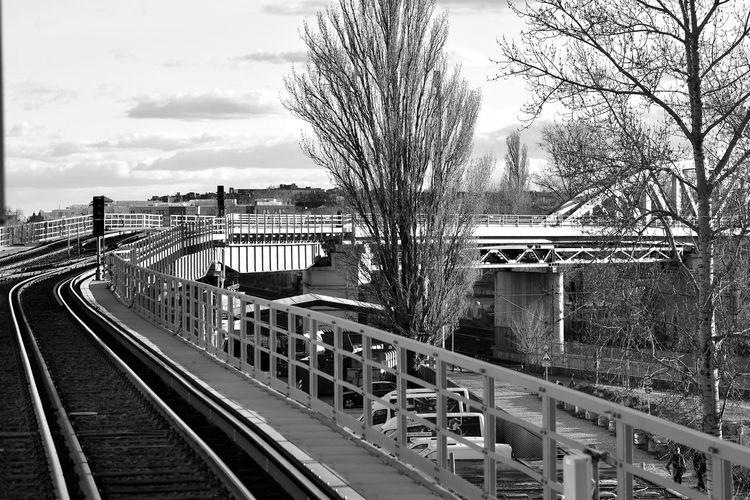 Train on railroad bridge