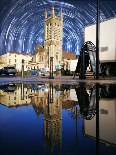 Photoshop Edit, Church image taken on Huawei P10 Plus Phone Oo Reflection Architecture Building Exterior Built Structure Edit Huaweiphotography Illuminated Leica Mobilephotography Night No People Outdoors Photoshop Place Of Worship Puddle Reflecting Pool Reflection Reflections In The Water Religion Sky Star Trail Symmetry Water Waterfront