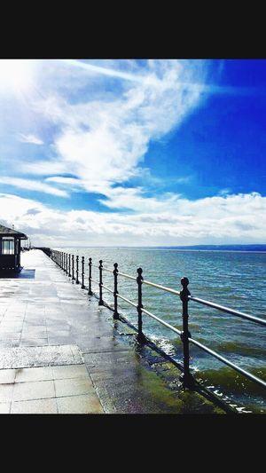Blue Sky Clouds Sunshine Promenade Seaside Marine Lake West Kirby Wirral