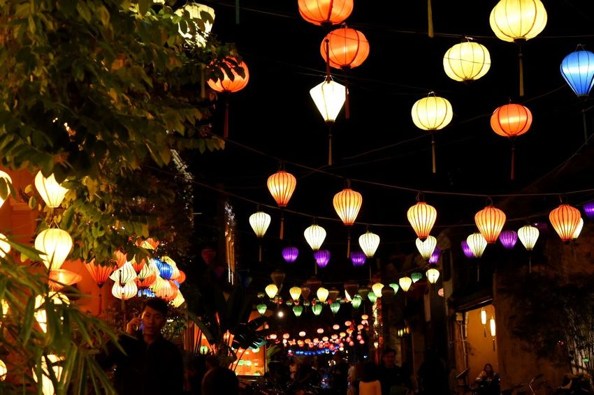 Nightphotography Colorful New Year Around The World Hanging Lighting Equipment Illuminated Lantern Decoration Celebration Cultures Low Angle View Night