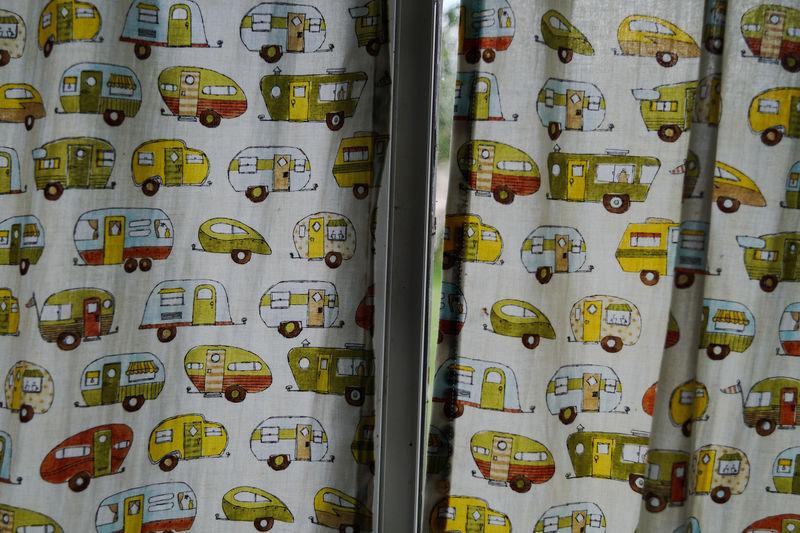 Painted Camper Vans On Curtain