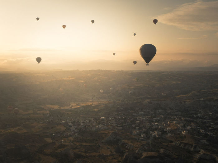 EyeEm Selects Lost In The Landscape Hot Air Balloon Mid-air Flying Morning Sky Vacations Balloon Travel Adventure Landscape Outdoors Air Turkey Cappadocia Göreme Perspectives On Nature Go Higher