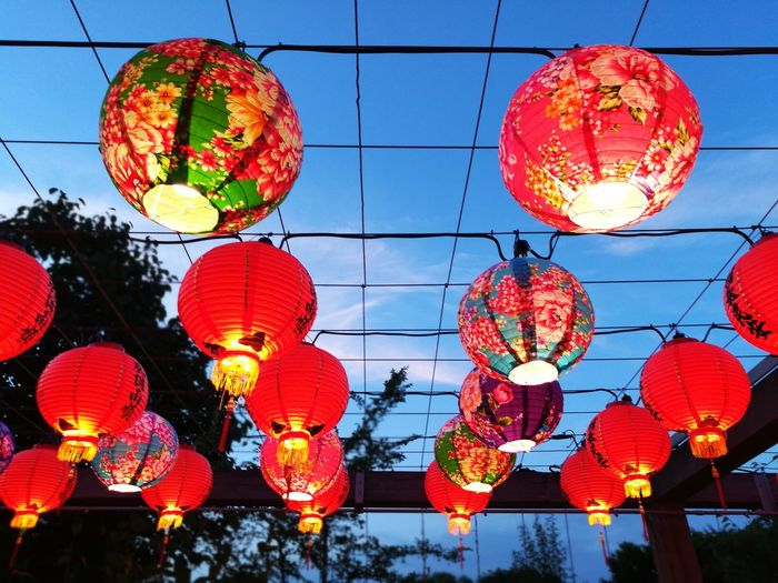 Hanging Chinese Lantern Chinese Lantern Festival Decoration Lantern Lighting Equipment Celebration Chinese New Year Traditional Festival Cultures Low Angle View Paper Lantern Red Illuminated Tradition Night No People Outdoors Sky City Taiwan Taipei Lantern Lantern Festival Lanternfestival