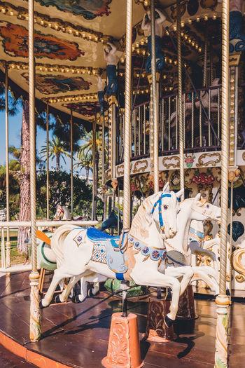 Carousel Amusement Park Amusement Park Ride Carousel Horses Animal Representation Representation Domestic Domestic Animals Mammal Livestock Horse Animal Animal Wildlife Arts Culture And Entertainment Enjoyment Day Leisure Activity Outdoors Fun Architecture Merry-go-round Ornate