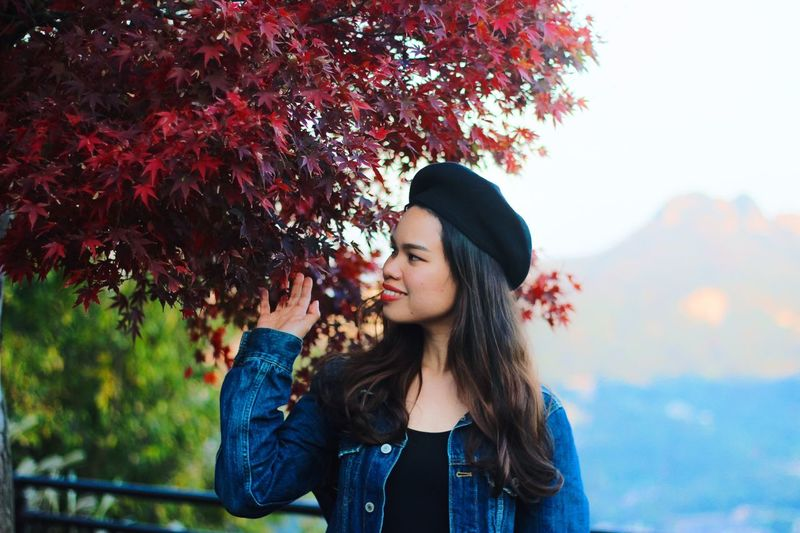Autumn in Shikoku. Nature_collection Portrait Photography Maple Nature Photography Millenials Portraits Of EyeEm Japan Photography portrait of a friend Autumn Japan Portrait Nature Photography Fashion One Person Young Adult Young Women Leisure Activity Plant Real People Lifestyles Long Hair Casual Clothing Hat Tree Hairstyle Nature Clothing Hair Women Adult