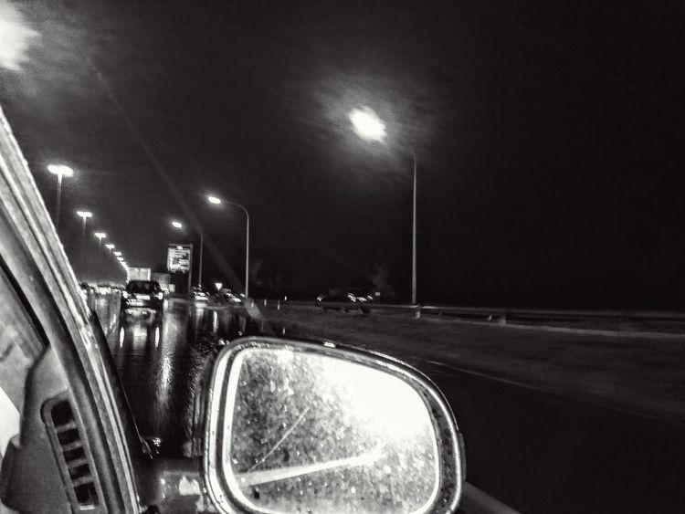 Car Illuminated Land Vehicle Night No People On The Highway Night Outdoors Road Sky Street Light Transportation