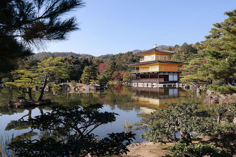 Kinkakuji Temple Japanese  Japan Photography Culture And Tradition Beautiful Architecture Outdoors No People Architecture Nature Clear Sky Day Water Travel Destinations Kyoto Japan Tradition Beautiful Day Picoftheday Japanese Temple Mountain Building Exterior Photography