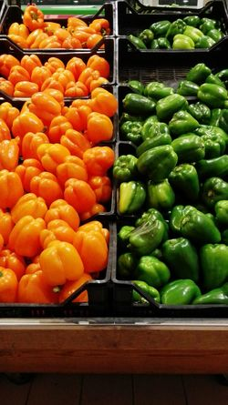 Green Peppers Orange Peppers Greens Fresh Food Fresh Vegetables Food Porn Grocery Shopping Grocery Store Peperoni Orange And Green Yummy