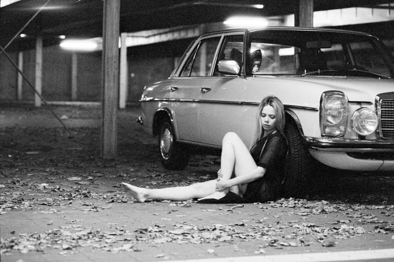 Adult Adults Only Analog Beauty Blackandwhite Car Full Length Illuminated Mercedes Night Old Car One Person One Woman Only One Young Woman Only Only Women Outdoors People Relaxation Shoe Sitting Transportation Young Adult