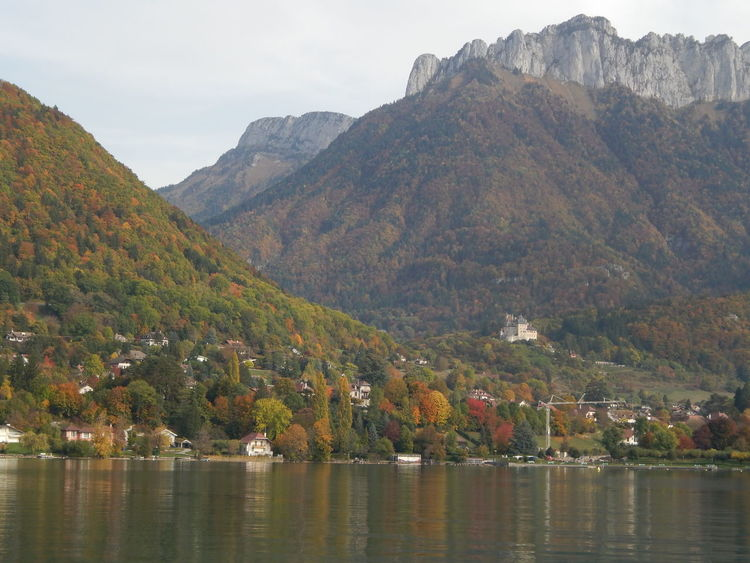 Annecy Lake Annecy, France Autumn Autumn Colors Castle France Beauty In Nature Day Forest Lake Lake View Lakeshore Landscape Mountain Mountain Range Nature No People Outdoors Scenery Water Waterfront