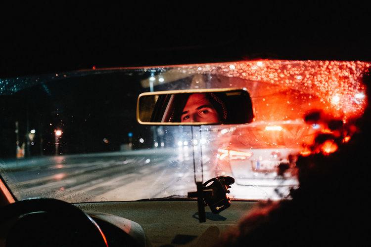 Mirrors EyeEm Best Shots EyeEm Gallery EyeEmBestPics Reflection Car Car Interior Illuminated Night One Person Portrait Shootermag Streetphotography Transportation Vehicle Interior Window Mobility In Mega Cities