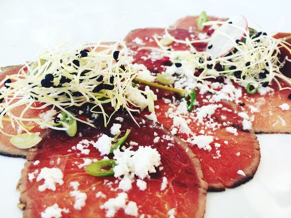Ostrich Carpaccio Foodphotography Food Dine Still Life Close-up Garnish Appetizer Food And Drink Indulgence
