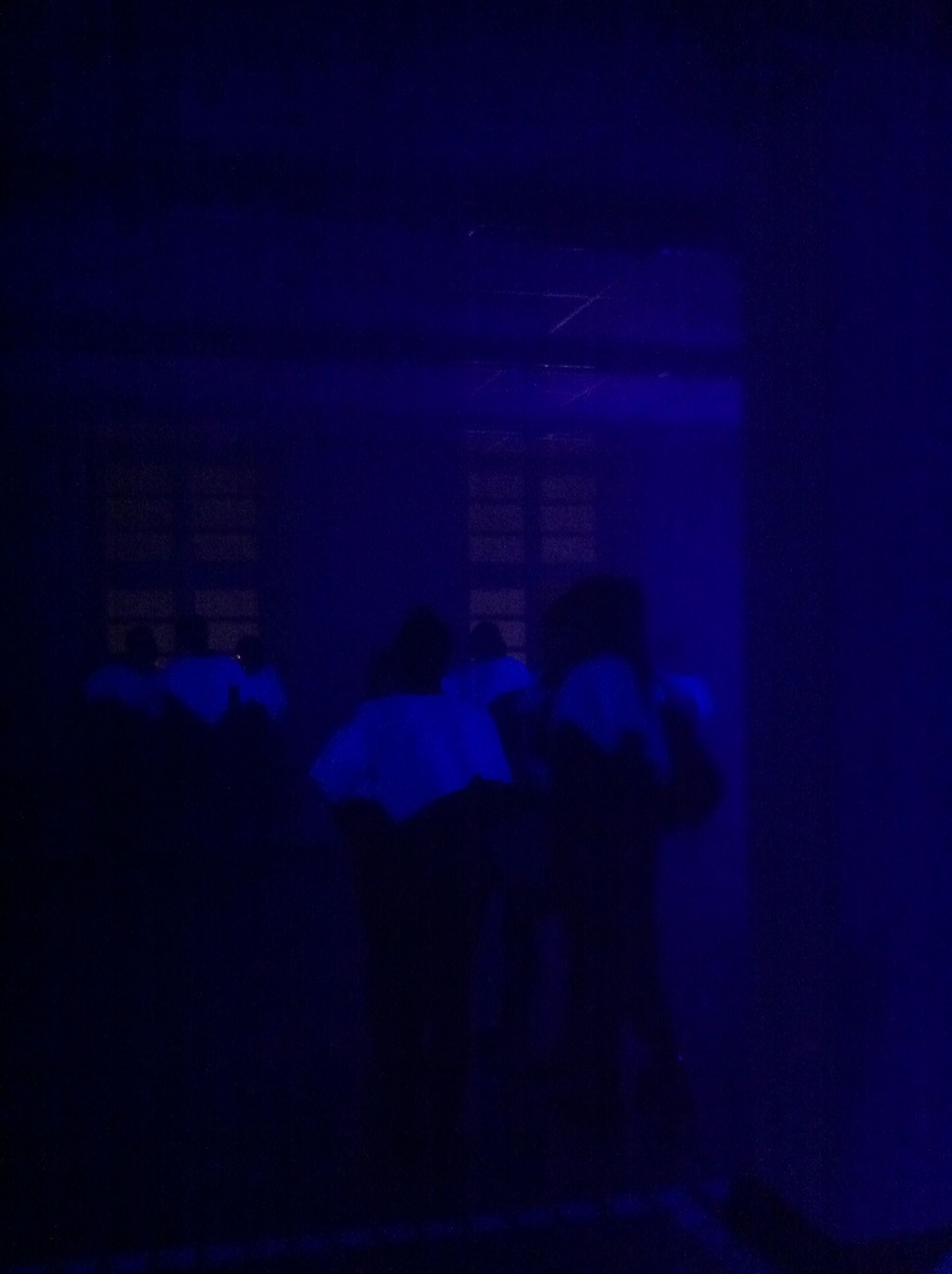lifestyles, leisure activity, men, illuminated, silhouette, night, person, blue, indoors, water, rear view, togetherness, standing, architecture, enjoyment, unrecognizable person, built structure