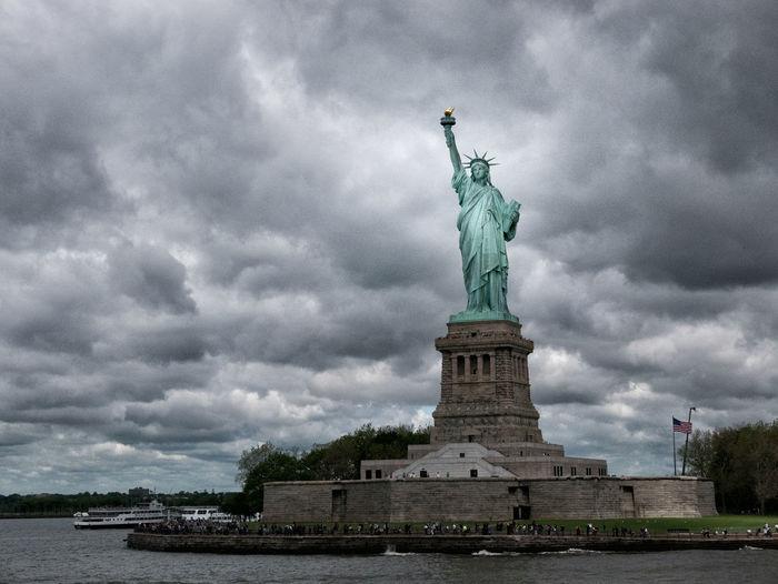 Architecture Cloud - Sky Female Likeness Human Representation Monument New York Sculpture Sky Statue Statue Of Liberty Statue Of Liberty New York Travel Destinations