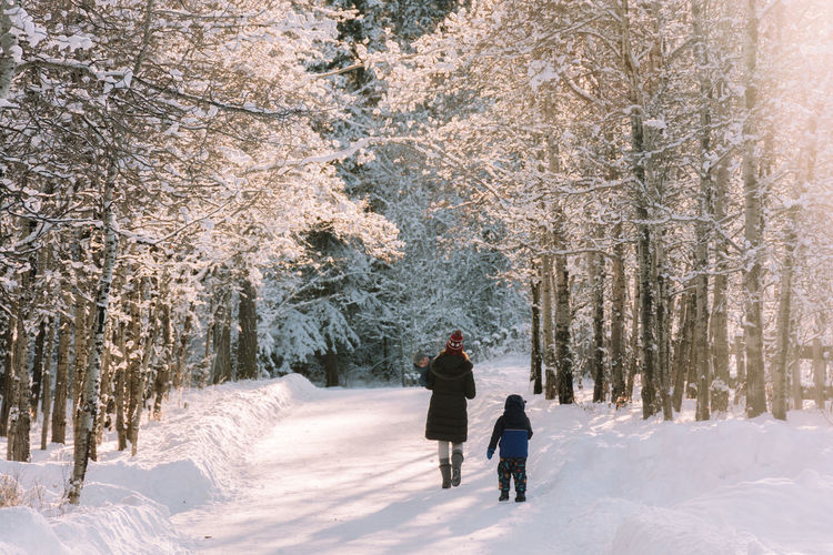 Rear view of mother and son walking in forest during winter
