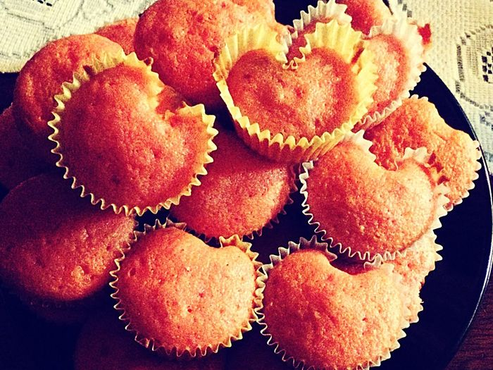Happy Valentines Day ❤ Showcase: February IPhoneography IPhone Strawberry Cupcake Heart Shaped Cupcakes Homemade No Icing Pastel Power
