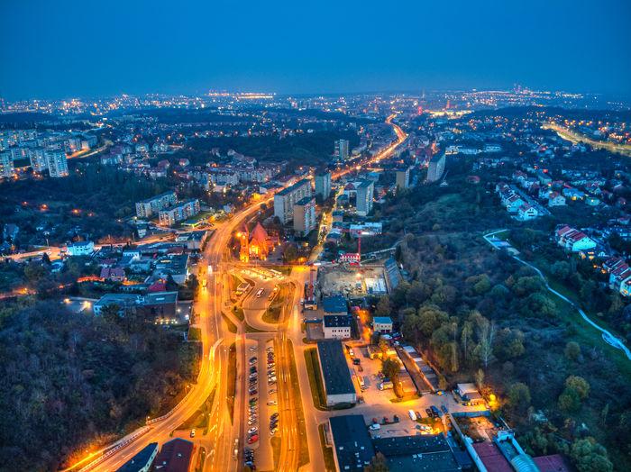 High angle view of illuminated gdw city at night