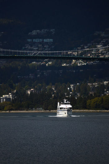 Ferry under the bridge. Architecture Bridge - Man Made Structure Built Structure City Cityscape Day Ferry Mode Of Transport Nature Nautical Vessel No People Ocean Outdoors Sky Transportation Vancouver BC Water EyeEmNewHere