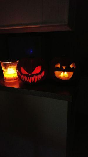 Halloween Pumpkins Illuminated Indoors  Night