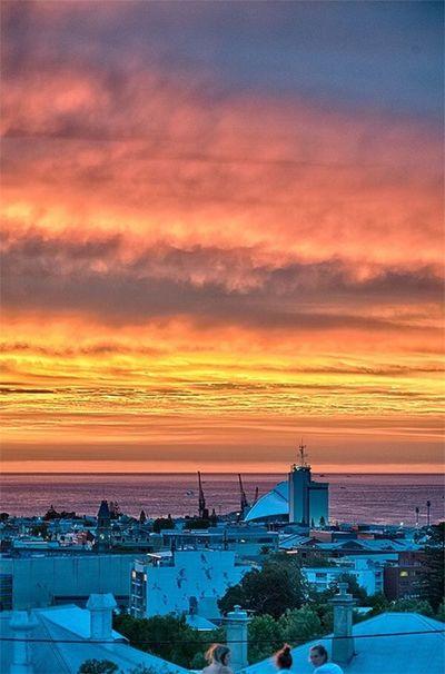 Fremantle. Bush fire sunset.