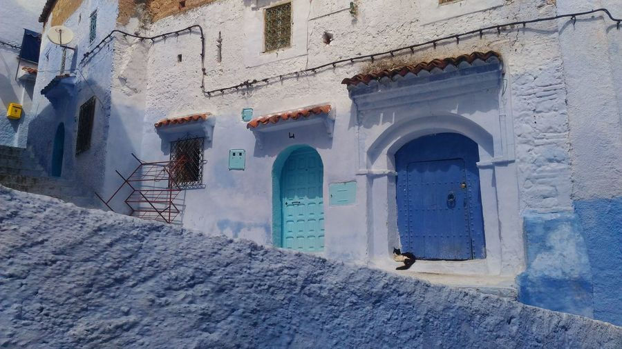 Morocco Tranquility Architecture Blue Chauen Chefchaouen Door Travel Destinations