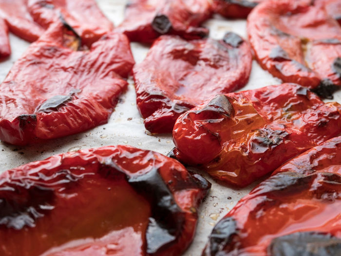 Close-up of grilled red bell peppers