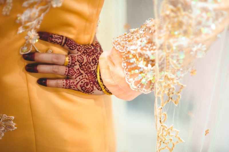 Midsection Of Bride Standing With Hand On Hip