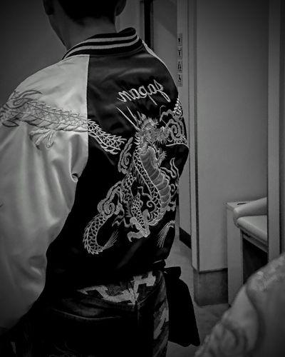 Monochrome Black & White Blackandwhite Light And Shadow Self Portrait スカジャン 龍