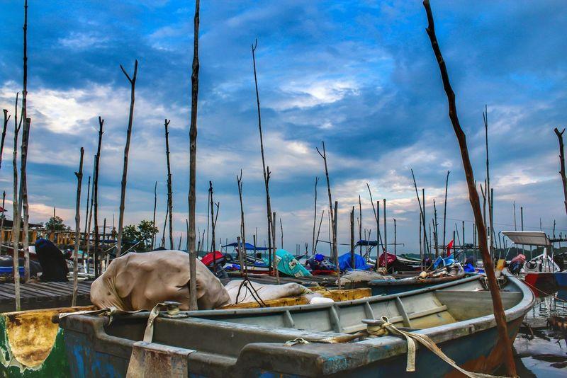 Fisherman boats EyeEmNewHere Malaysia Backgrounds Klang Portklang Pulauindah Nautical Vessel Water Sea Moored Harbor Sky Landscape Cloud - Sky Mast Marina Port Fishing Boat Boat Scenics Calm Water Vehicle