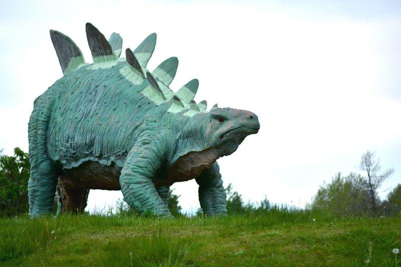 Close-up of dinosaur sculpture