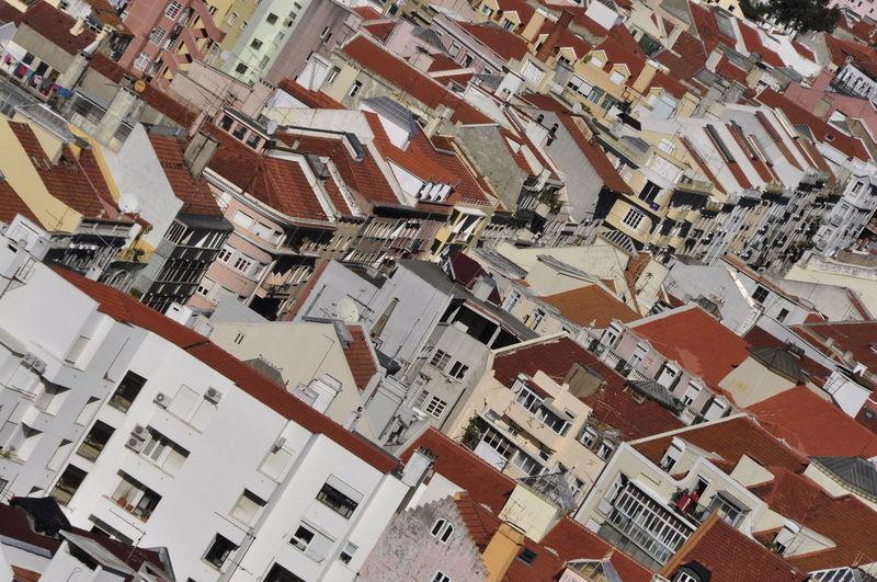 Tilt image of houses in town