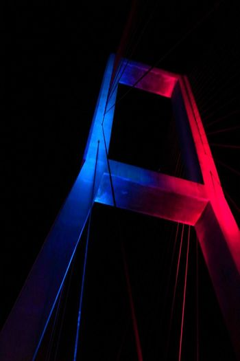 suramadu bridge Abstract Angle Architecture Black Background Blue Close-up Dark Design Illuminated Indoors  Laser Light - Natural Phenomenon Low Angle View Night No People Pattern Red Shape Studio Shot Triangle Shape