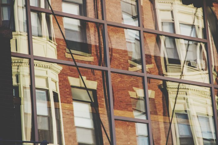 Old Meets New Window Refelections Brick Wall Glass Structure Architecture Gentrification Home Building Office Metal Beams Urban Abstract