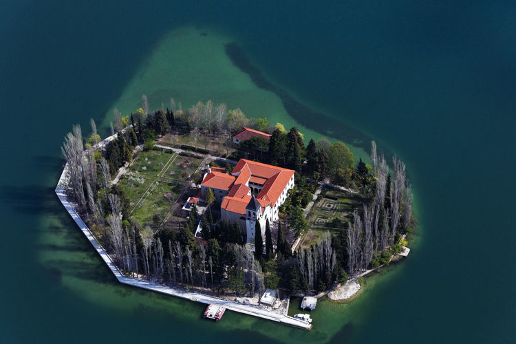 Aerial view of the visovac island with monastery on krka river