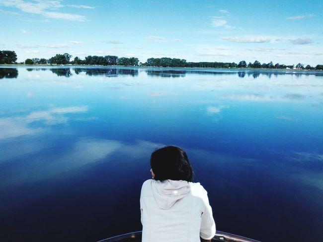 Laguna... Water Sitting Lake Childhood Rear View Reflection Sky