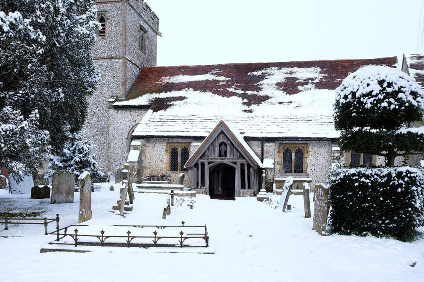 Christian Church Tower East Sussex Architecture Building Exterior Built Structure Cold Temperature Day House Nature No People Outdoors Religion Residential Building Ringmer Church Sky Snow Snow Covered Snow Scene  Tree Winter