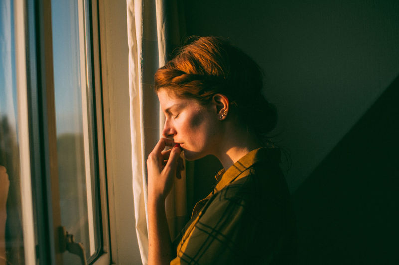 Day Ginger Indoors  One Person People Sunset, Window Young Adult