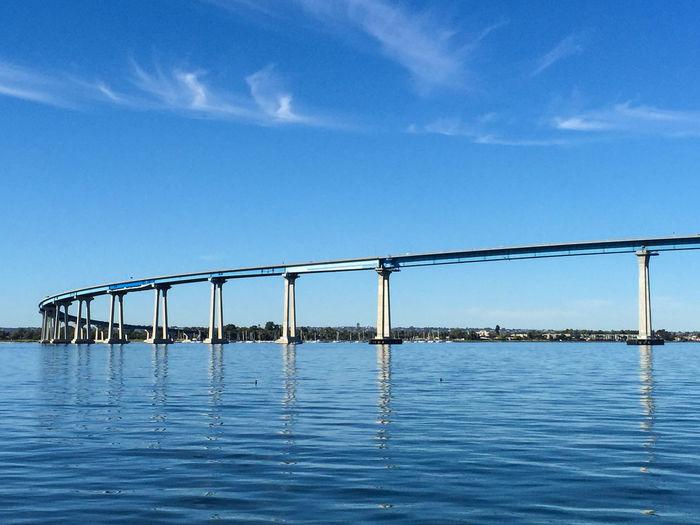 San DiegoCoronado Bridge Over Bay Against Blue Sky