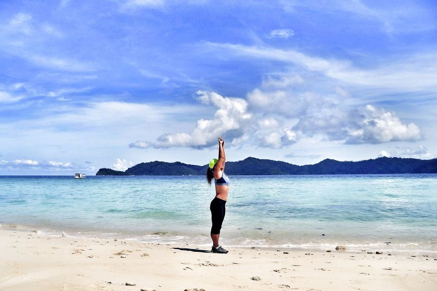 Stretch At The Sea Beach One Person Healthy Lifestyle One Woman Only Sky Cloud - Sky Beauty In Nature Sand Beach Photography Holiday And Relaxing Malaysia Sabah Borneo Kota Kinabalu, Sabah Island Resort Borneo Island Mamutik Island Mamutik Excersice Your Mind Excersice Nature Yoga The Great Outdoors - 2017 EyeEm Awards Inner Power