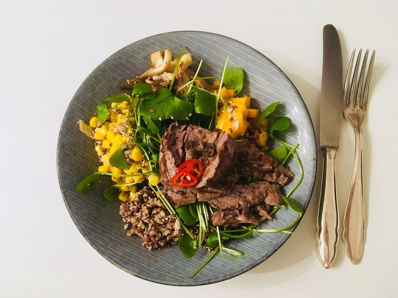 Ready-to-eat Plate Food Food And Drink No People Directly Above Freshness Fork Healthy Eating High Angle View Indoors  Meat Close-up Day Buddha Bowl Freshness Corn Quinoa Filet