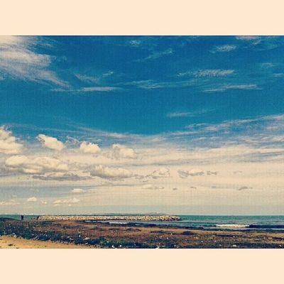 Idreamoftunisia InstagramTunisie Instagramtn IgersTunisia InstaHamhama Hamhama HammamLif cloudy sky beach awesome lovely stunning view 100daysofhappiness 100happydays day6 A little walk beyond the sea before studying