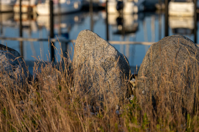 Close-up of stack of rocks by the lake