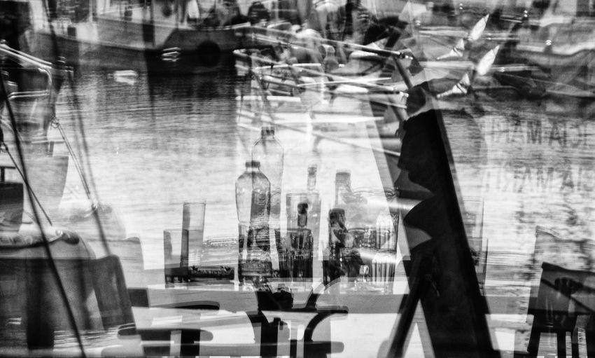 Reflection City One Person Greece Sea Uzo Blackandwhite