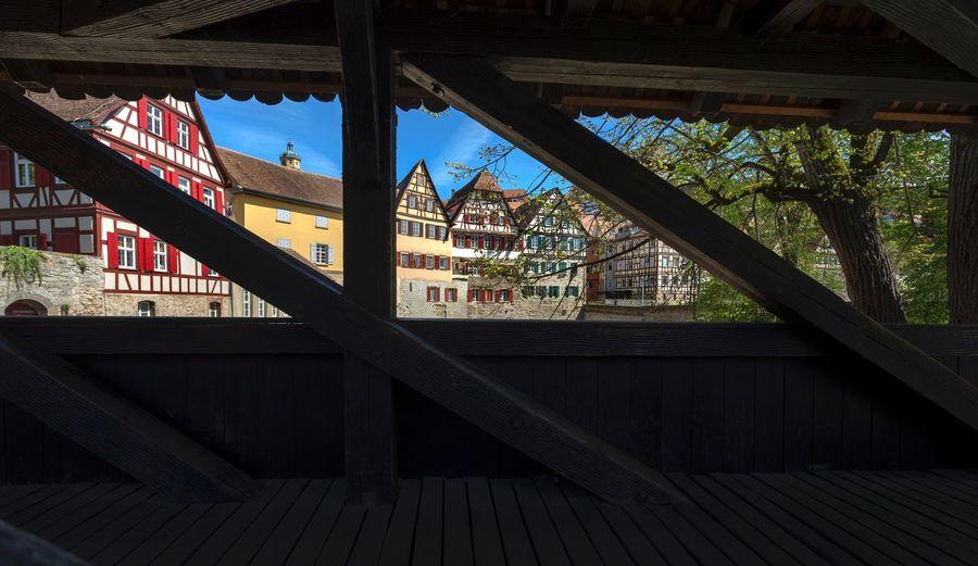 Buildings seen through metal railing of building