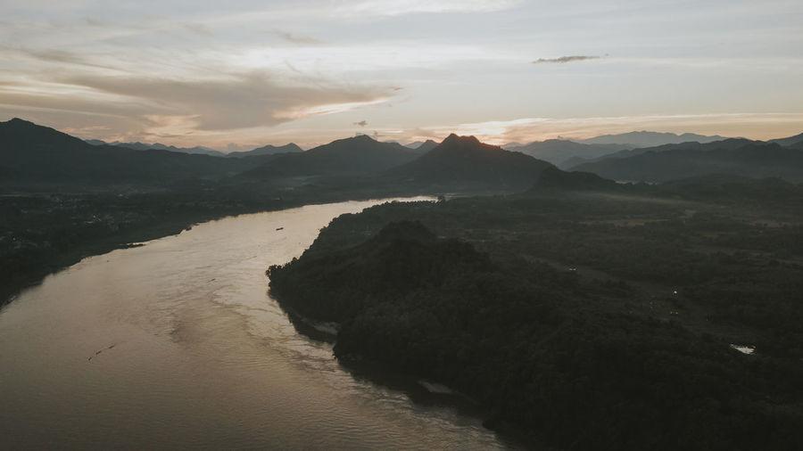 Aerial drone photograph of luang prabang, laos.
