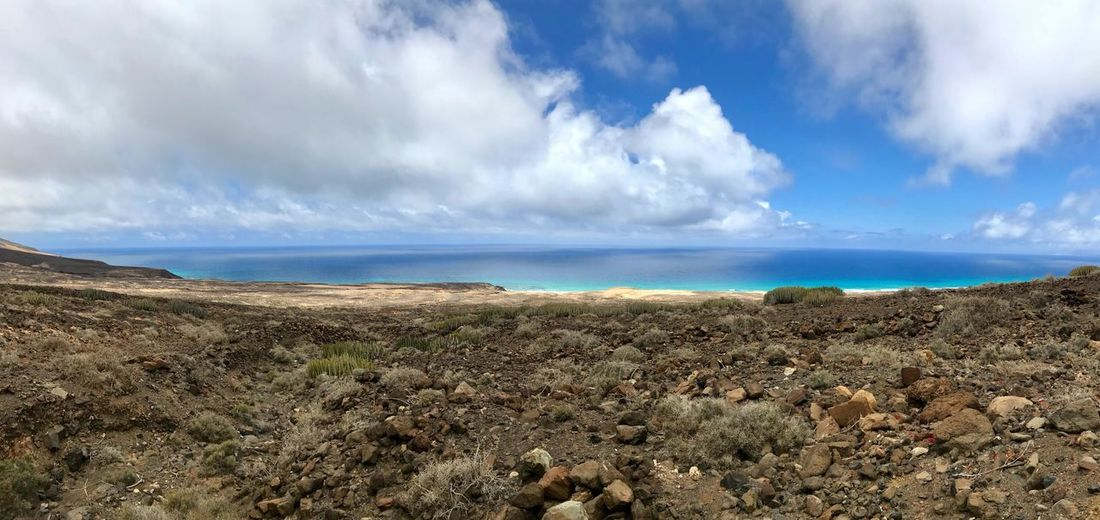 Fuerteventura Canary Islands Sky Cloud - Sky Beauty In Nature Tranquility Tranquil Scene Scenics - Nature Sea Water No People Beach Land Nature Day Horizon Over Water Idyllic Non-urban Scene Horizon Remote Outdoors